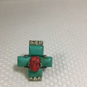 Jewelry - Woman's Turquoise Coral Crystal Diamond  ring